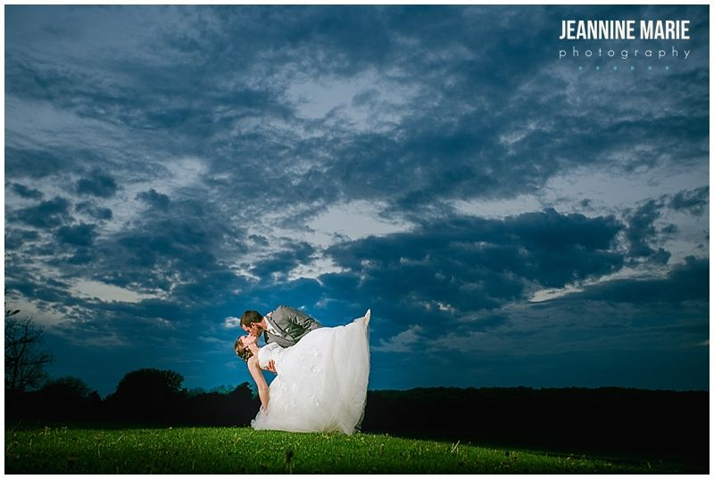 Mayowood Stone Barn, bride, groom, couple, poses, dip, kiss, blue sky, grass, clouds, night