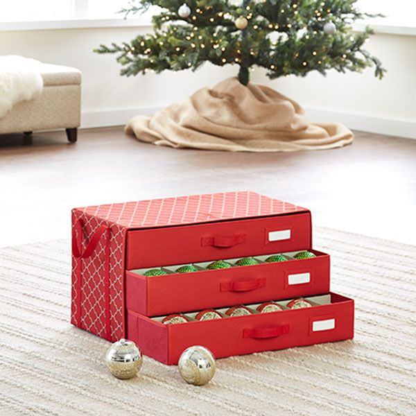 Container Store Ornament Storage Holiday 3Drawer Ornament Chest  Organization  Pinterest