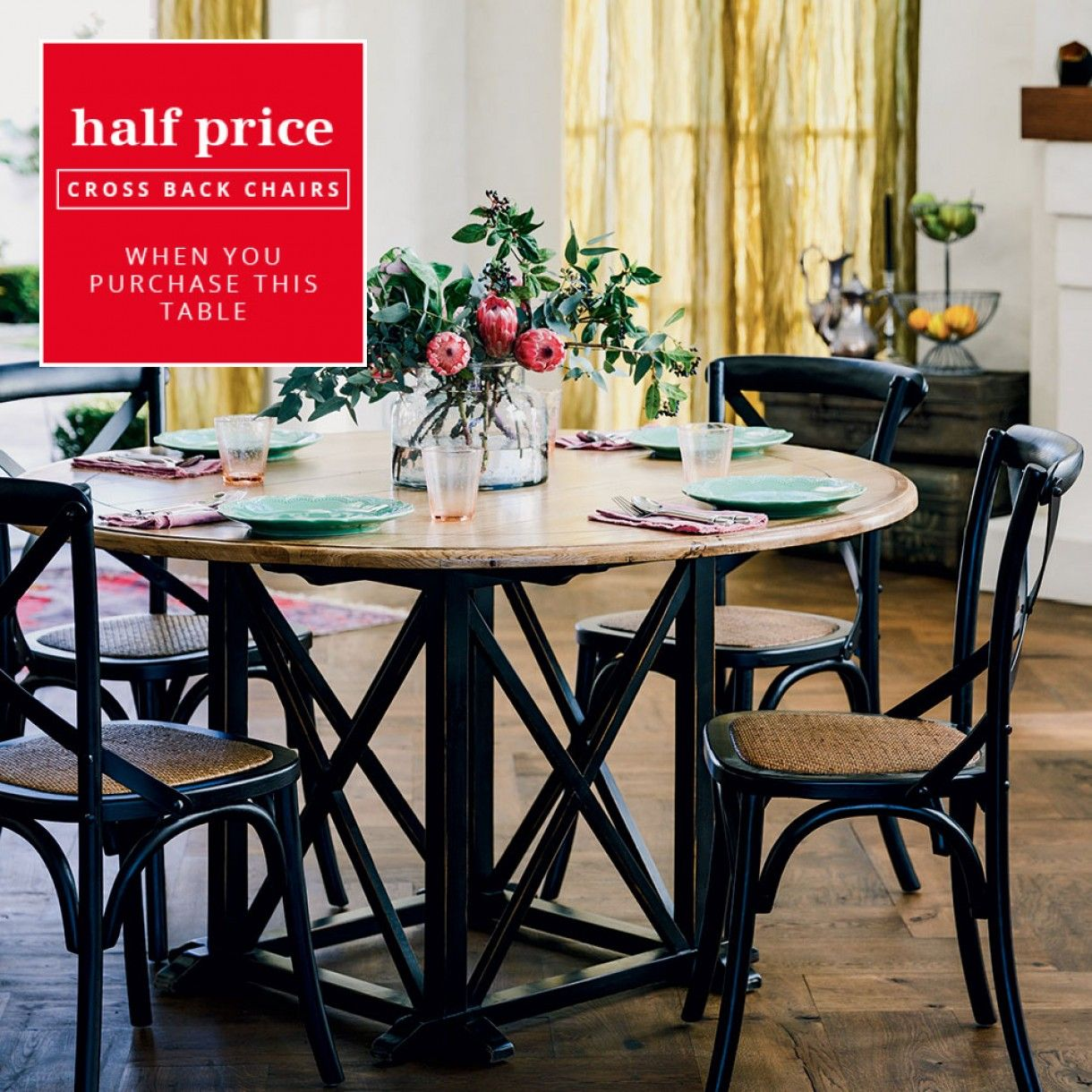 Provincial Oak Round Dining Table 1400mm Distressed Black