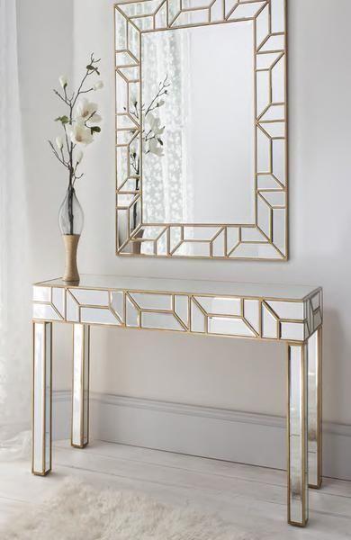 Geometria Gold u0026 Mirrored Console Table u0026 Mirror Set & Geometria Gold u0026 Mirrored Console Table u0026 Mirror Set | Interior ...