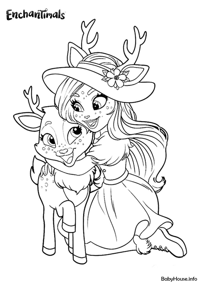 Danessa Deer Hugs Sprint High Quality Free Coloring From The Category Enchantimals More Printa Fox Coloring Page Unicorn Coloring Pages Cute Coloring Pages