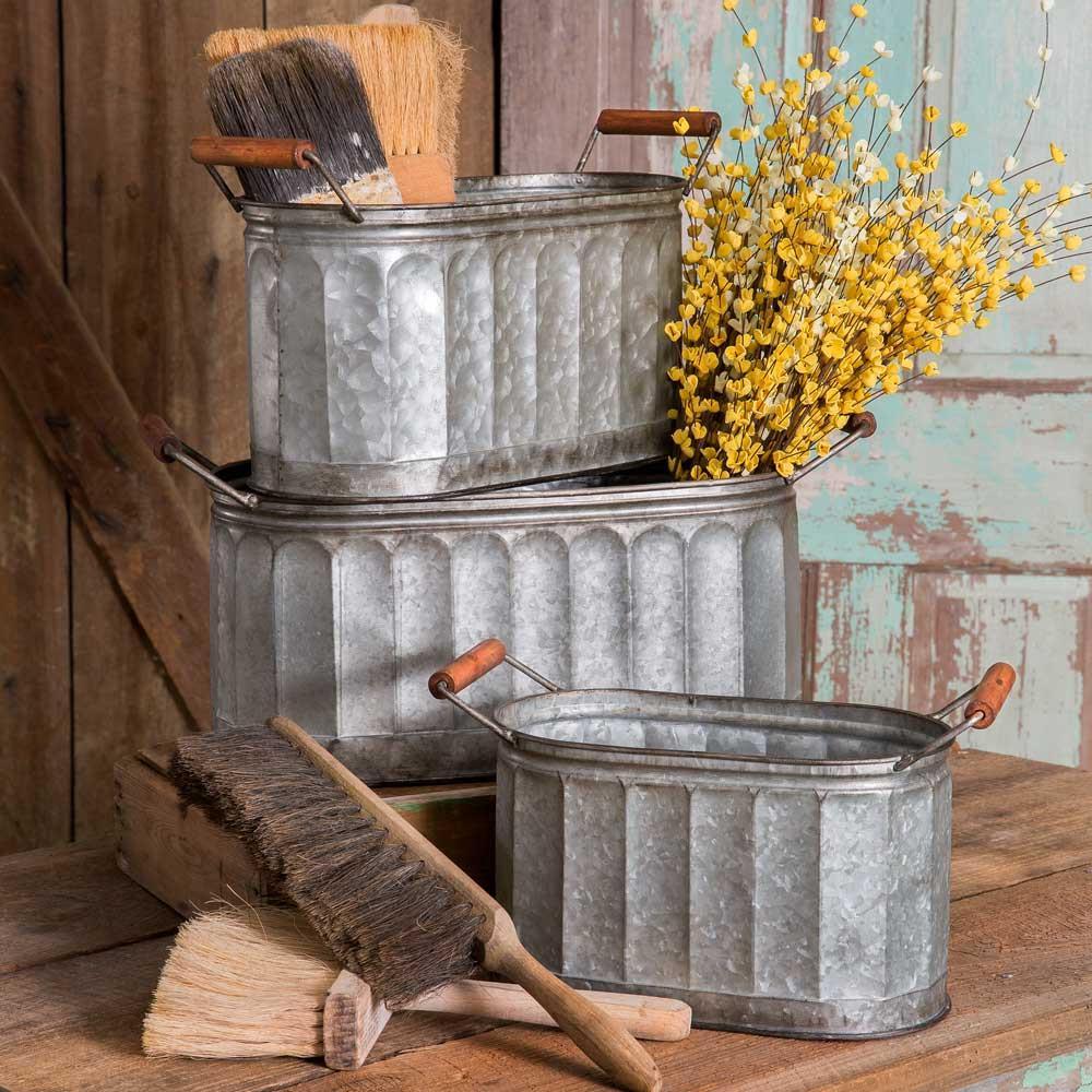 Rustic Galvanized Corrugated Oval Storage Bins Buckets With Wooden Handles Set Of 3 Metal Storage Bins Metal Bins