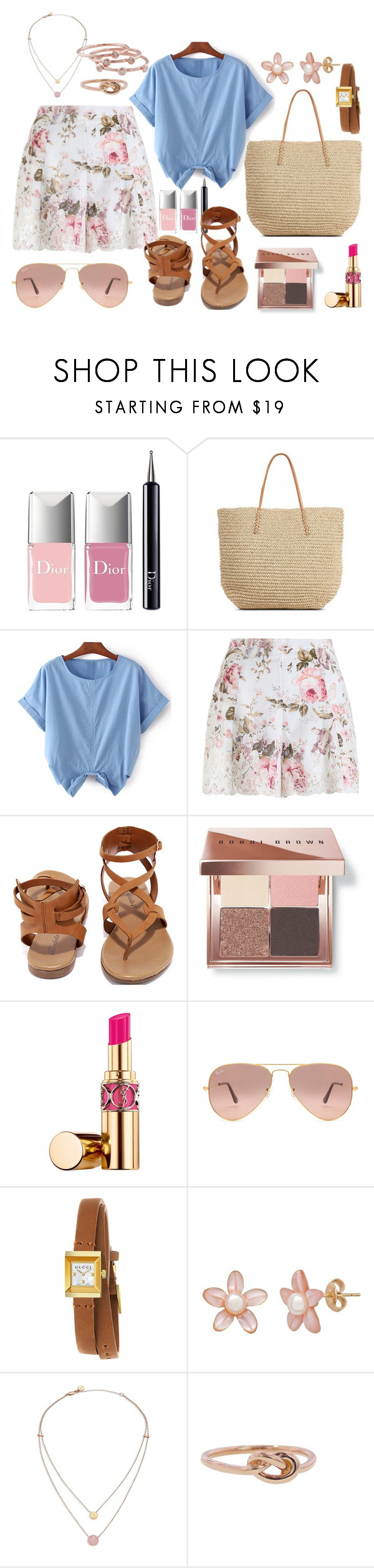 chambray and floral II by silversage on Polyvore featuring Zimmermann, Breckelle's, Target, Gucci, London Road, Finn, Michael Kors, Ray-Ban, Bobbi Brown Cosmetics and Yves Saint Laurent
