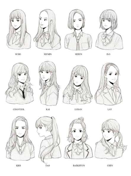 Hairstyles Drawing Hairstyles Drawing Coiffures Dessin Dibujo De Peinados Hairstyles For Med 69954 P In 2020 How To Draw Hair Hair Reference Anime Hair
