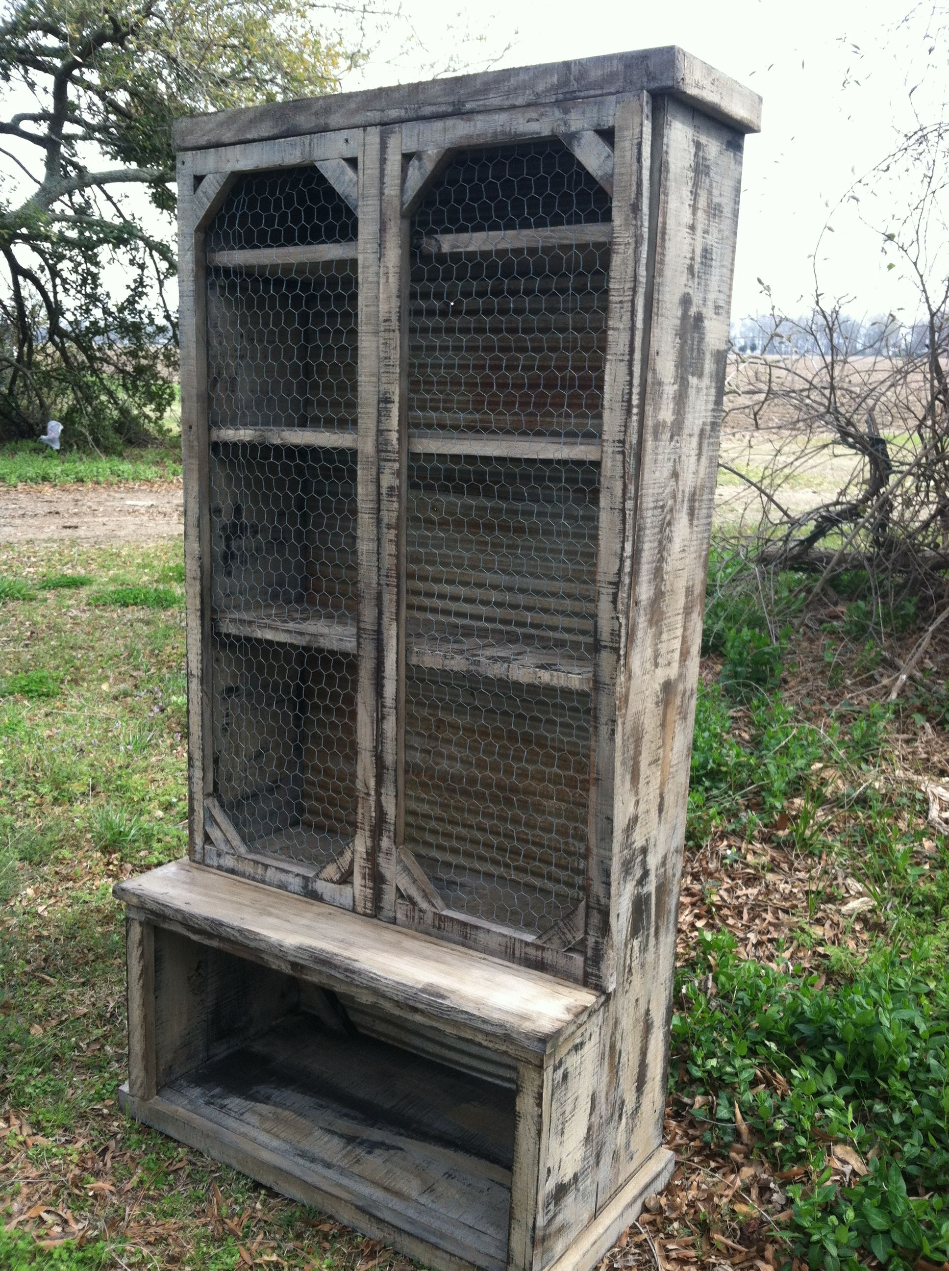 Cabinet Made From Rough Cypress And Backed With Salvaged Barn Tin Doors Have Chicken Wire Insets Barn Tin Country Decor Diy Diy Kitchen Cabinets