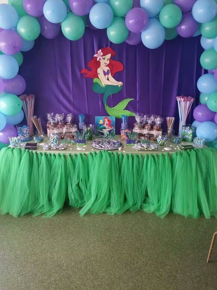 Candy table celebrations d pinterest candy table for Ariel birthday decoration ideas
