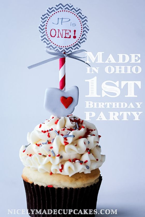 An Oh Io Made 1st Birthday Brody Pinterest Buckeye Cupcakes