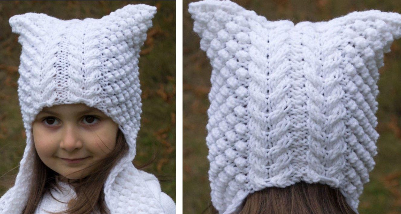 Cat's Ear Knitted Angel Hat [FREE Knitting Pattern ...