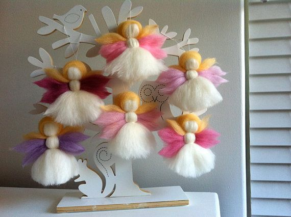 6 Party Favours Fairy Decorations Merino Wool By