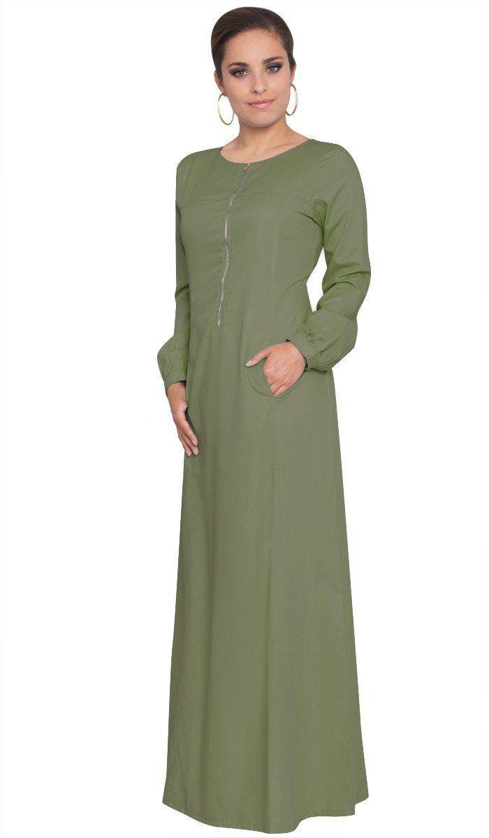 Aliyah zipper front long maxi dress abaya olive in abayas
