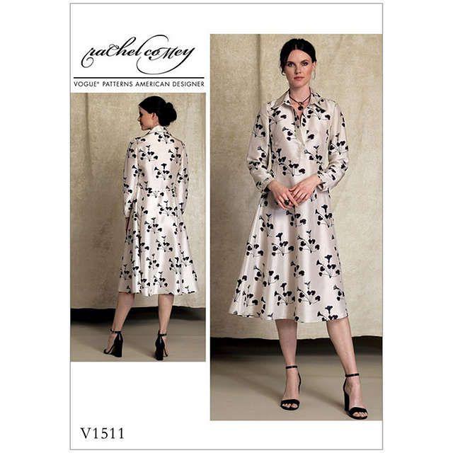 BuyVogue Misses\' Women\'s Half Placket Shirt Dress Sewing Pattern ...