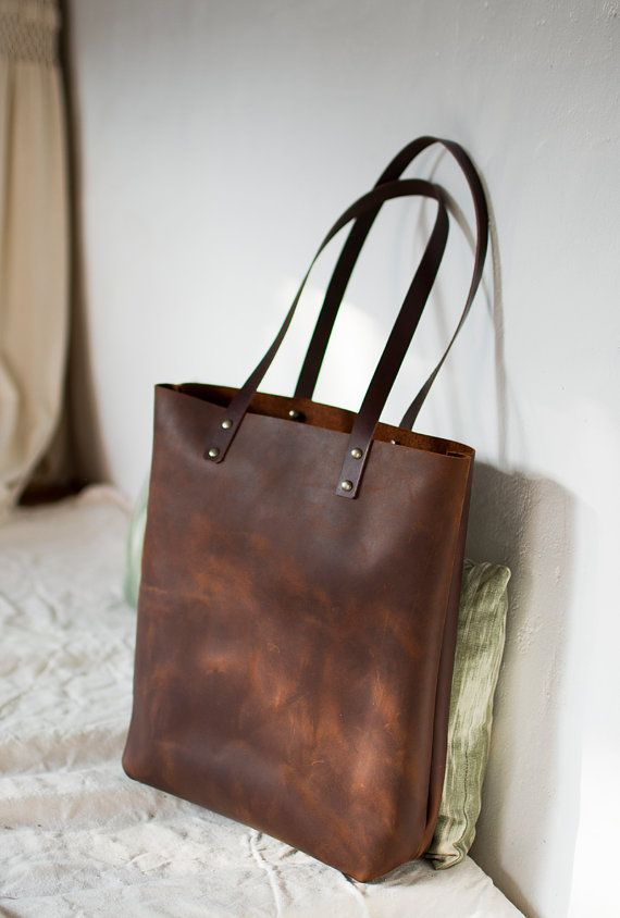 Brown Distressed Leather Bag Illa Roja By Vermutatelier