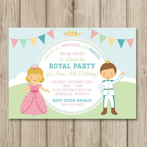 PRINCESS and PRINCE BIRTHDAY Party Invitation by kimberlyjdesign