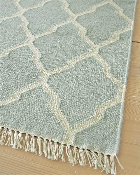 Teppich Helles Blau, Wolle/Baumwolle