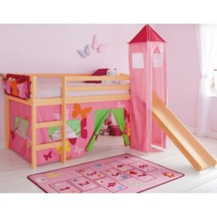 Mid Sleeper Bed Frame With Tent Amp Slide Pine And Pink