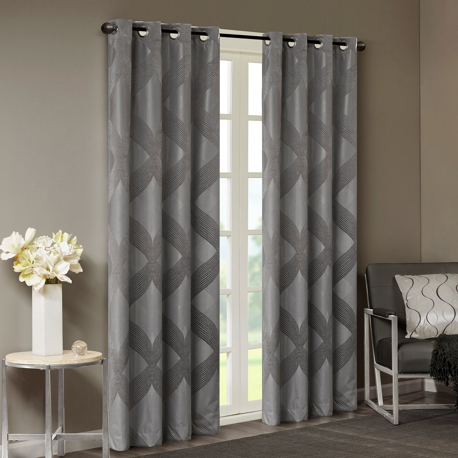 Charcoal Grey Knitted Jacquard TOTAL BLACKOUT Grommet Top Curtain Panel-ALL SIZE