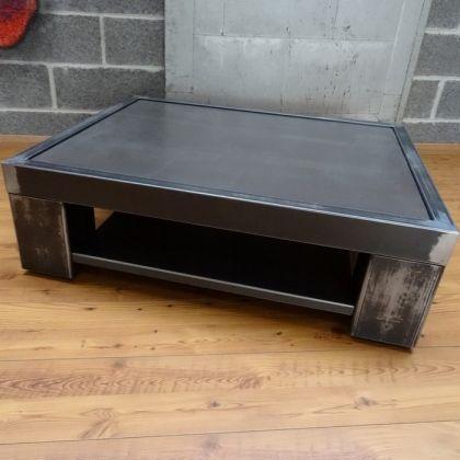 Table basse m tal brut acier et b ton industrial steel furniture and lofts - Table basse retractable ...