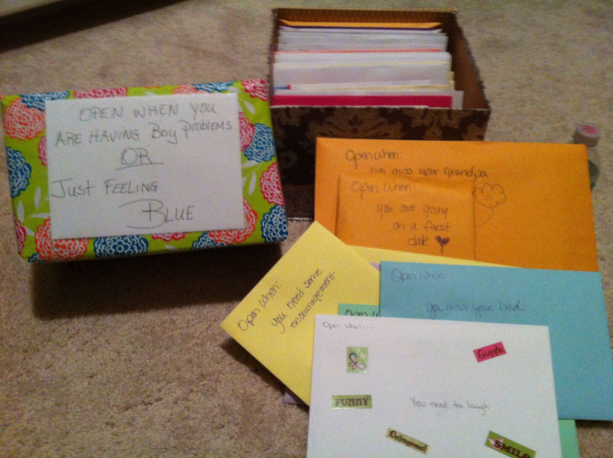 """""""Open When"""" envelopes. When my daughter went to England to"""