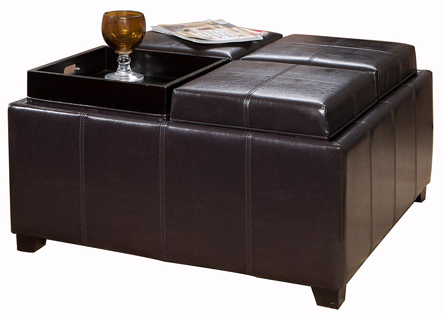 Best Selling Four Sectioned Espresso Leather Cube Storage Ottoman