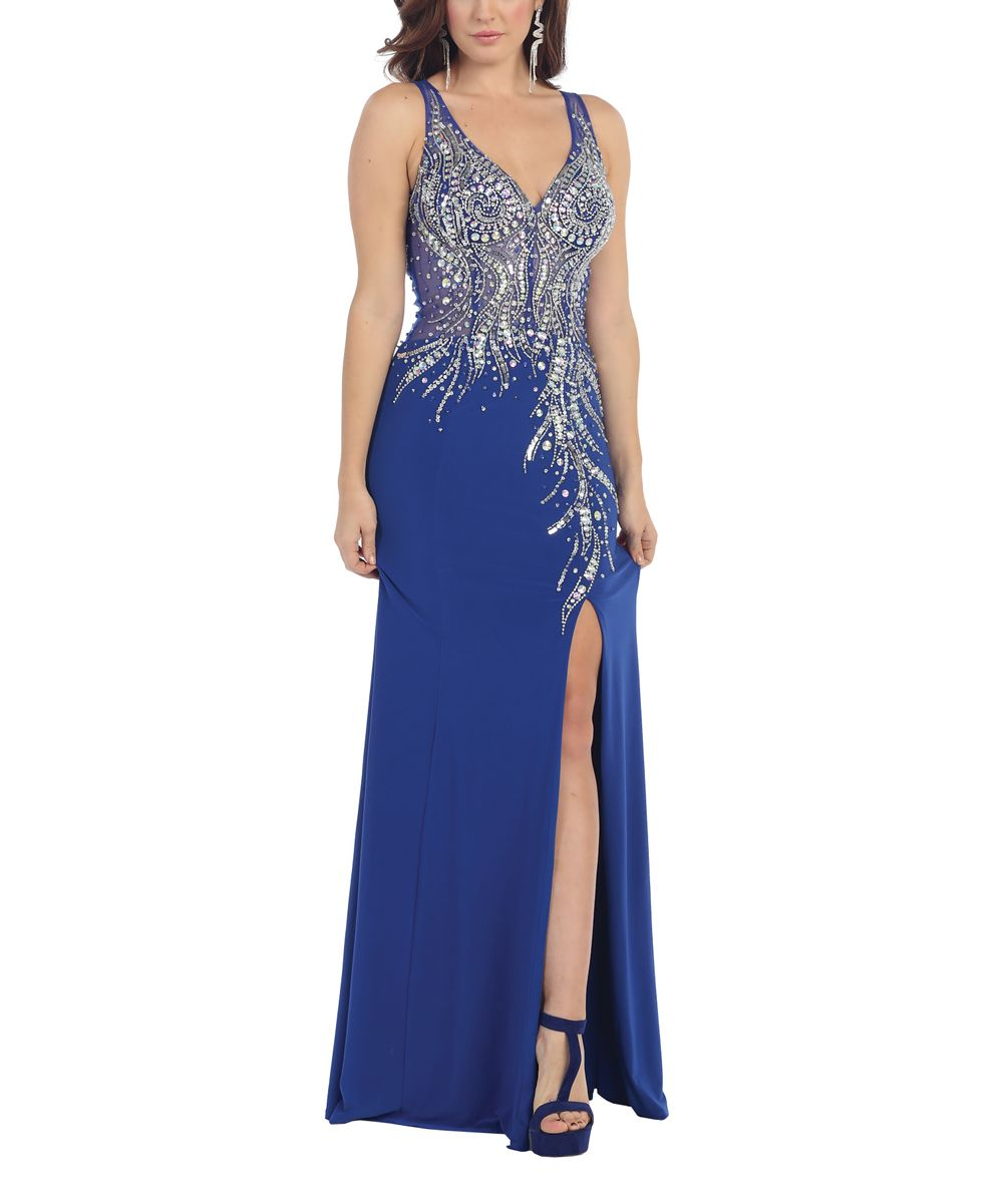 Royal blue sequin openback frontslit gown products pinterest