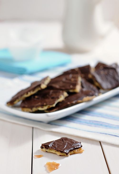 I think I will use dark chocolate......Chocolate Toffee Saltines    1 stick of butter  1/2 cup sugar  1 teaspoon vanilla  Saltines (about 24)  12 oz semi sweet chocolate chips