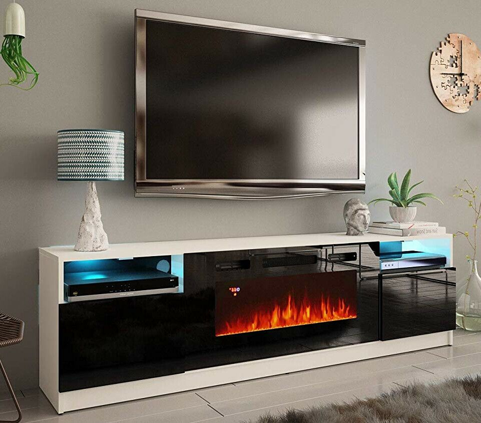 Fireplace Tv Stand Media Console White Black 80 Inch Large 40 Led Light Modern Acfireplacetvstands Modern Fireplace Tv Stand Fireplace Tv Modern Tv Stand
