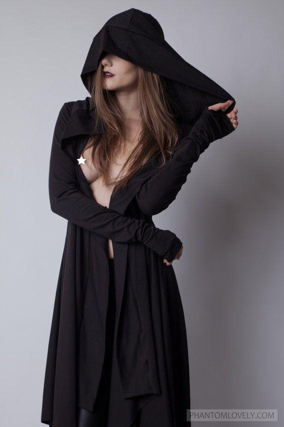 Darkness Hooded Cloak Jacket, Asymmetric Cardigan with Hood, Thumb Holes, Pockets, Organic Cotton