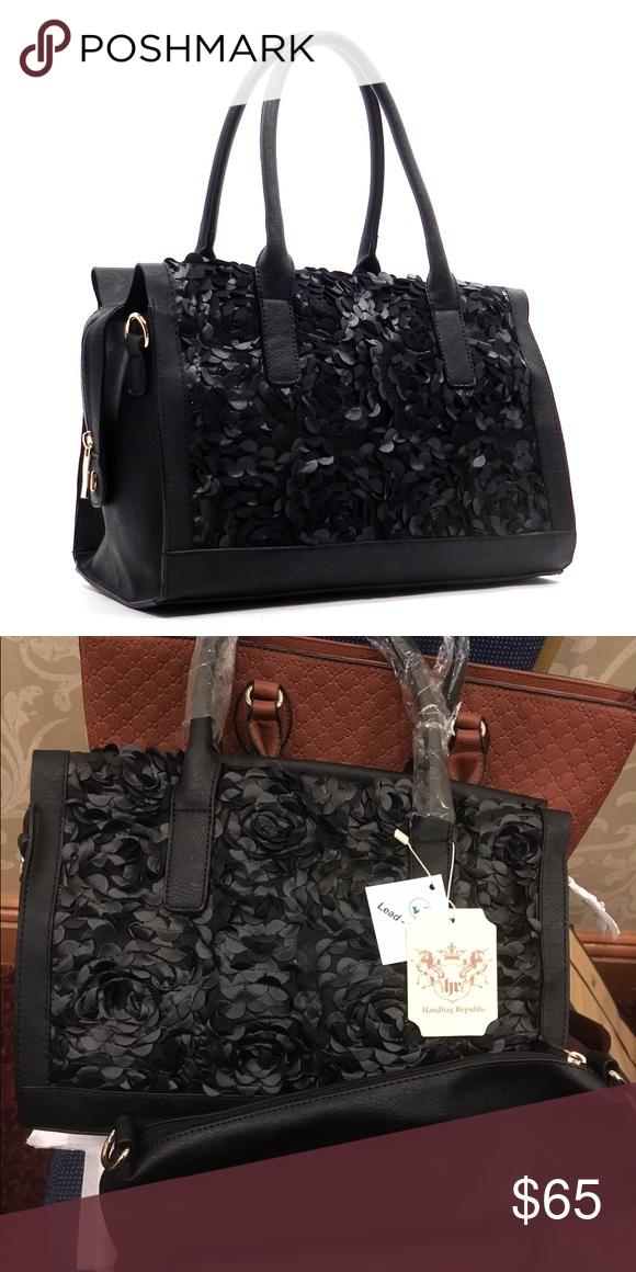 Black Flower Handbag Designer Inspired Faux Leather Zip Top Closure Gold Tone Hardware Detachable Shoulder Strap 2 In 1 Bag L 13 5 H 9 W 7