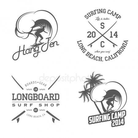 Set of surfing labels and badges - Stock Vector ,