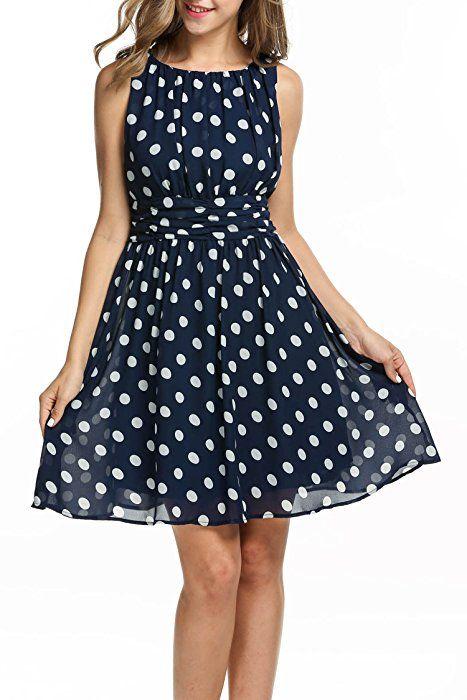 22a32aa38ad Zeagoo Damen Elegant Cocktailkleid Sommerkleid Partykleid A-Linie  Festliches Kleid mit Falten