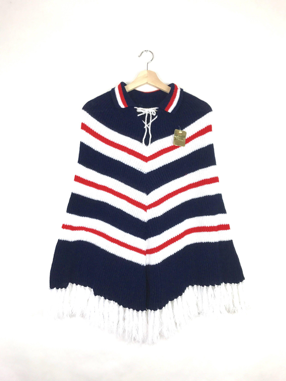 416903727560 1960s lace up fringe poncho