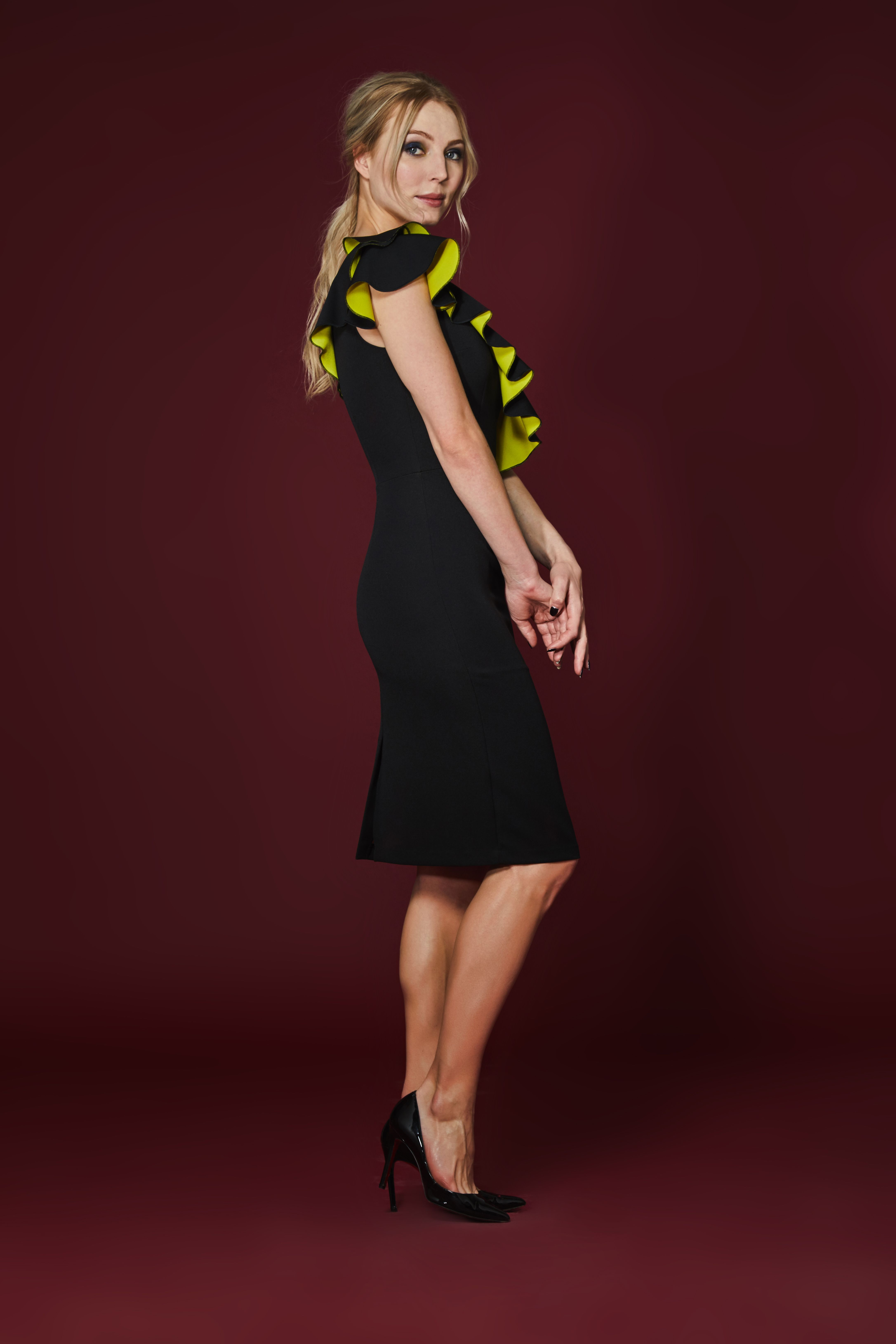 3395b4b965e Embrace this season's one-shoulder trend with our Calypso Dress. The design  features a mid length, a fitted waist and contrast frill detail across the  body ...