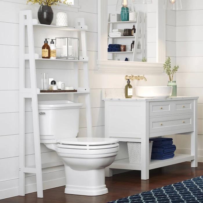 Over Toilet Space Saver With Tiered Ladder Shelves Gray Riverridge Home In 2020 Shelves Over Toilet Over Toilet Bathroom Shelf Decor