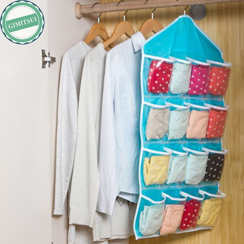 16 Pocket Wall Hanger Hanging Bag Holder Shoe Storage Organizer Closet Hanging Storage Bag Organizer Hanging Closet Organizer Foldable Wardrobe Hanging Closet