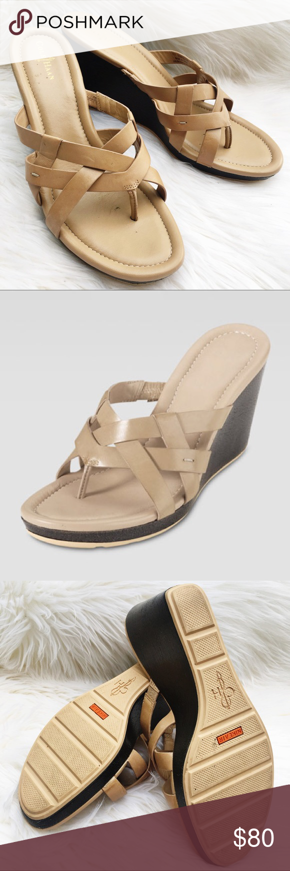 "cffe6f2f3e53e Cole Haan ""Bonnie"" Nike Air Nude Strappy Wedges"