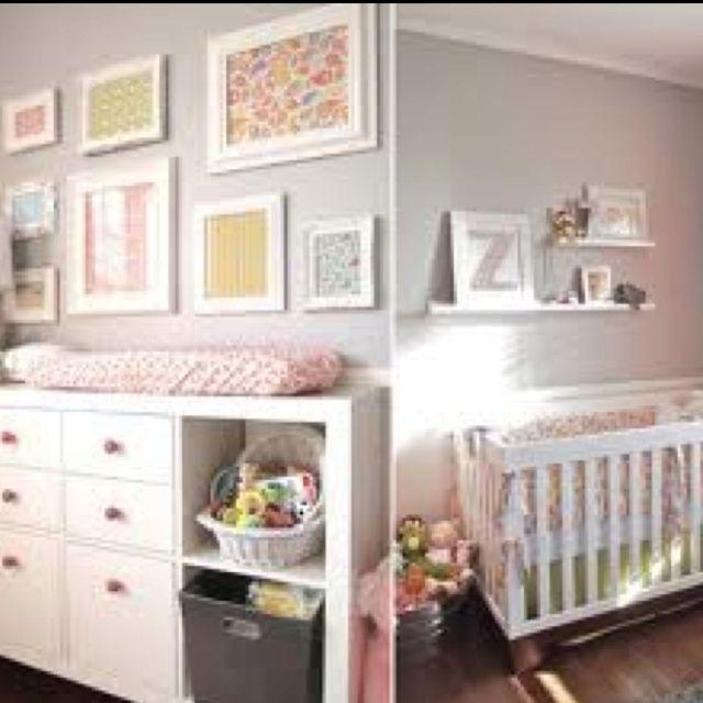 Grey White Pink Yellow Nursery I Like The Frame Idea