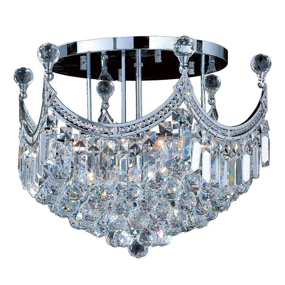 Worldwide Lighting Empire Collection 9 Light Chrome And Crystal Ceiling Light W33021c20 Flush Mount Chandelier Crystal Ceiling Light Ceiling Lights
