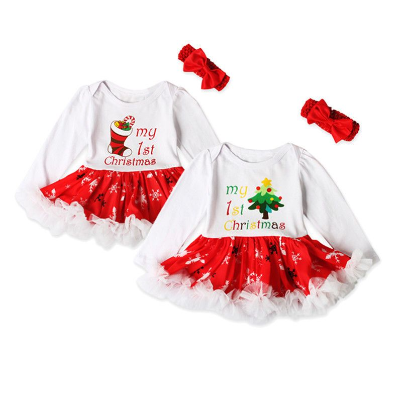Cool Amazing USA 2PCS Baby Girls Christmas Tree Romper Tutu Dresses