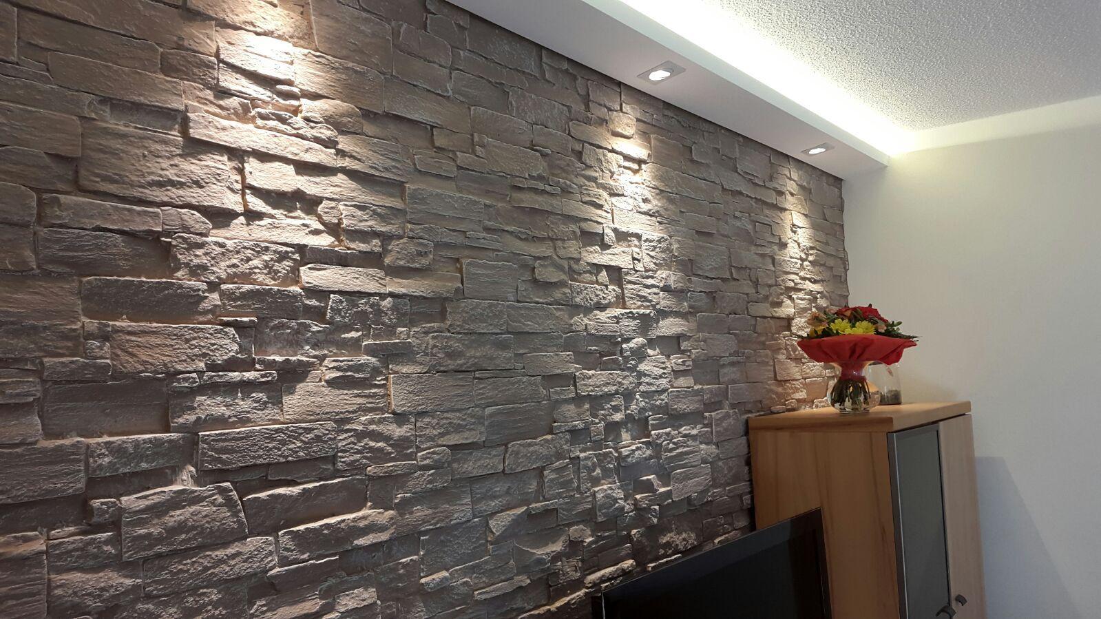 Steinwand in Wohnzimmer 2 | Iluminação | Pinterest | House