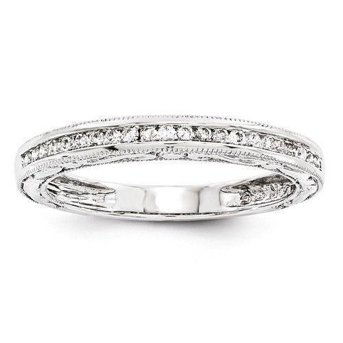 14k White Gold Channel Set Diamond Sculptural Side Wedding