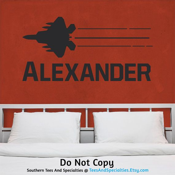 Wall Decal Monogram Name Fighter Jet Plane Masculine Boyish Boys - Personalized custom vinyl wall decals for nursery