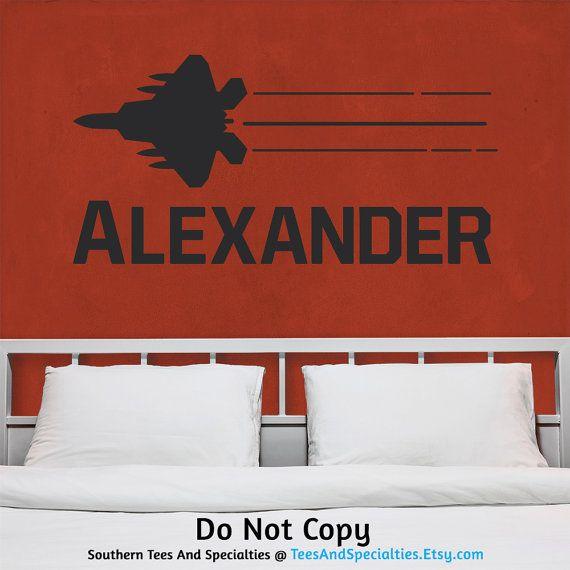 Wall Decal Monogram Name Fighter Jet Plane Masculine Boyish Boys - Custom vinyl wall decals nursery