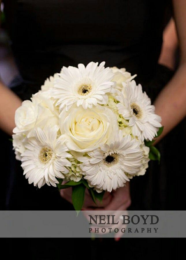 Attendant S Bouquet White Hydrangea Ivory Roses White Gerbera Daisies White Daisy Wedding Bouquet Daisy Bouquet Wedding Rose Wedding Bouquet
