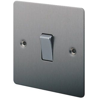 Lap 10ax 1 Gang 2 Way Light Switch Brushed Stainless Steel Light Switch Brushed Stainless Steel Brushed Nickel Lighting