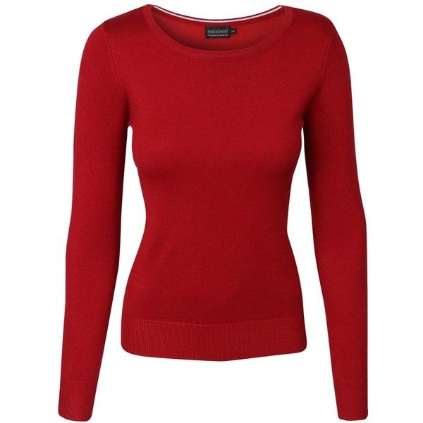 makeitmint Women's Basic Solid Crew Round Neck Long Sleeve Soft Knit... ($11) ❤ liked on Polyvore featuring tops, sweaters, red sweater, round neck sweater, knit top, red knit top and long sleeve knit sweater