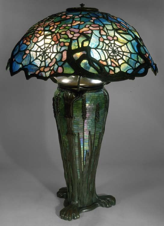 Paul Crist Studioscobweb Shade With Wheat Base Victorian Lamps Lamp Stained Glass Lamps