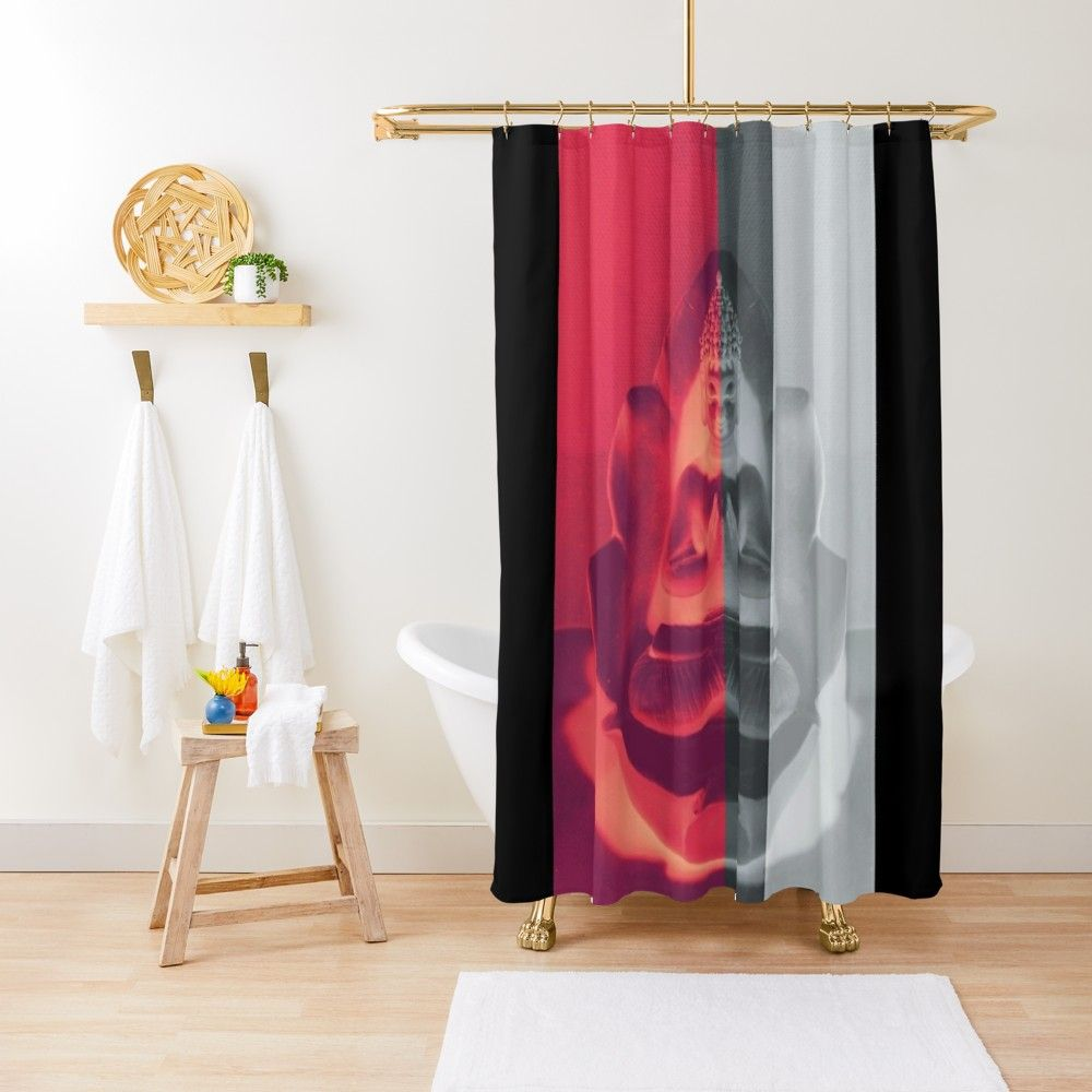 Buddha With Flower In Red And Black Shower Curtain By Rtsm