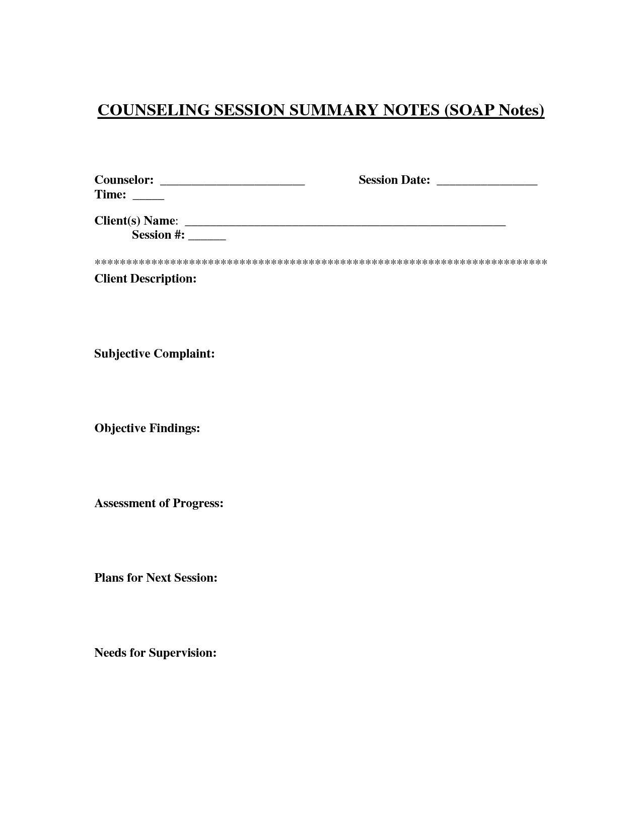 Counseling Session Notes Template Soap Note Treatment