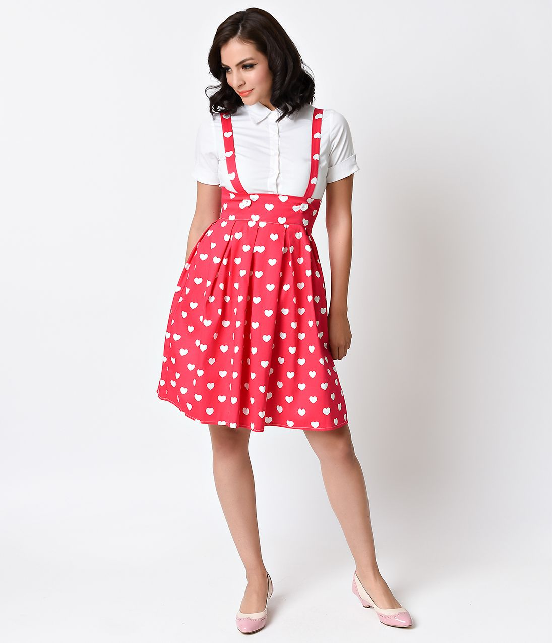 1e0b72cf77a Iconic by UV Plus Size Pink   White Hearts Jitterbug Suspender Skirt ...