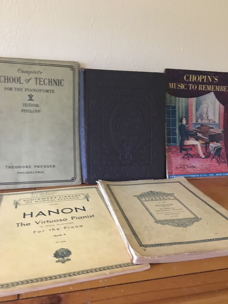 Lot of 5 Vintage Piano Sheet Music Early 1908-1945 Chopin, Pianist, Hanon